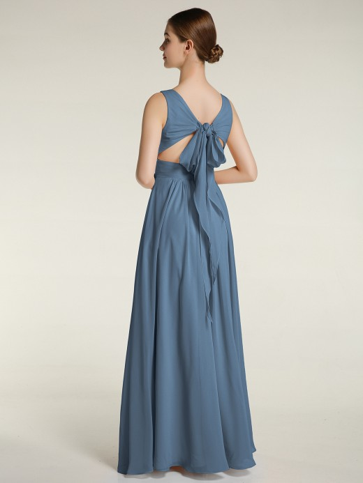 Babaroni Clover V-neck Chiffon Bridesmaid Dress with Bow Back