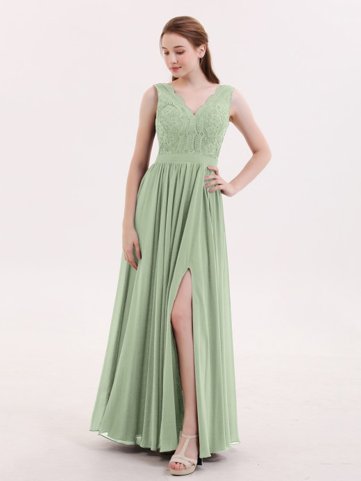 Babaroni Constance Low Back Sexy Long Dresses with Slit