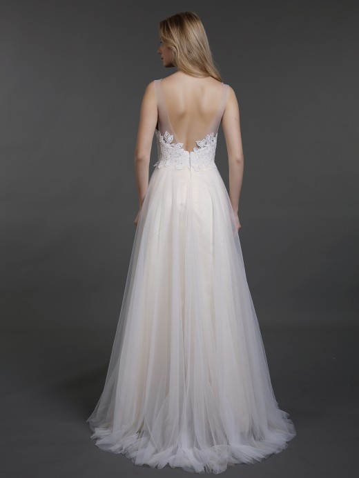 Babaroni Cyan Lace And Tulle Wedding Dresses with Sweep Train