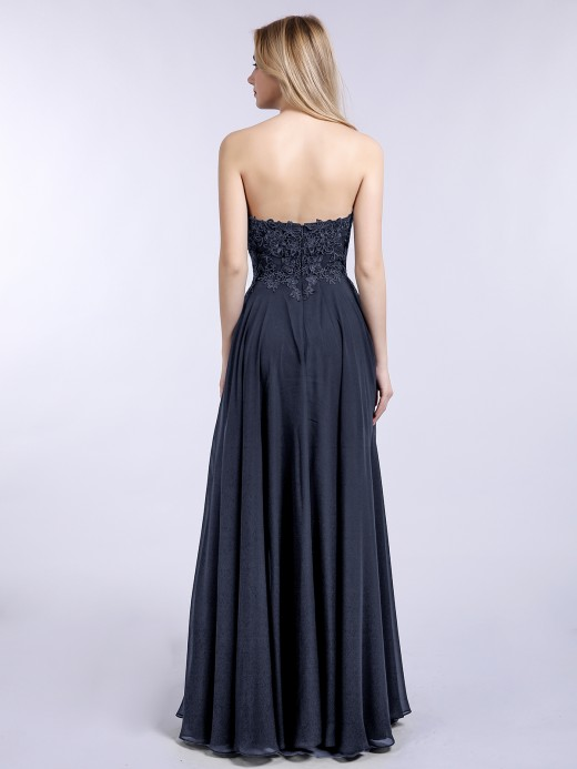 Babaroni Daisy Chiffon with Appliqued Long Dresses