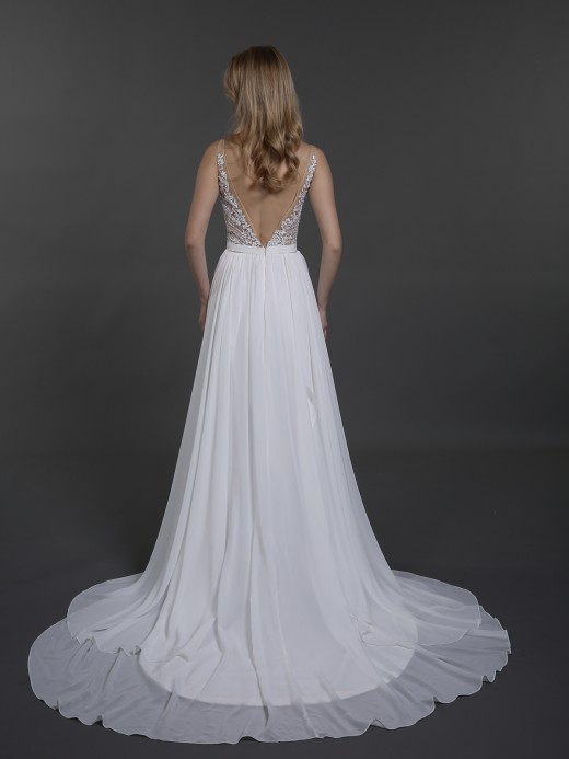 Babaroni Dale Lace And Beaded Top Chiffon Dress of Brides