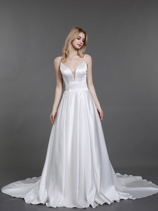 Babaroni Danae Deep V Neck Simple Satin Wedding Dresses