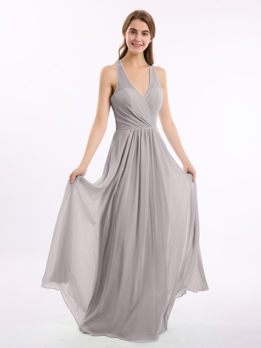 Babaroni Daphne Long Chiffon Dress with V Neck and Bow Straps
