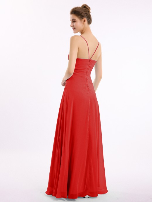Babaroni Debby Sweetheart Neck Chiffon Gown with Spaghetti Straps