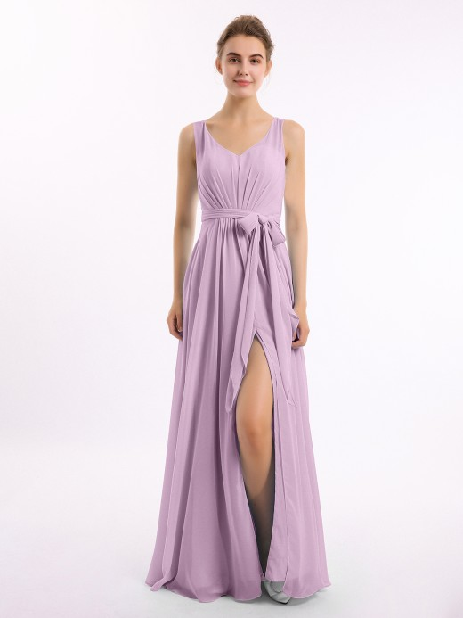 Babaroni Delia Long Chiffon Dress with Shallow V Neck High Slit