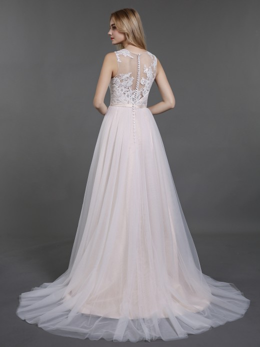 Babaroni Demi Button Back Lace AND Tulle Bridal Dresses