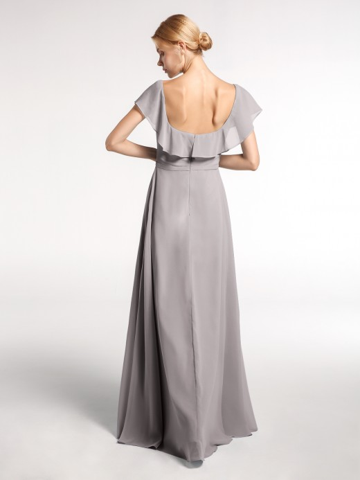 Babaroni Dinah Square Neck Maxi Chiffon Dress with Front Slit