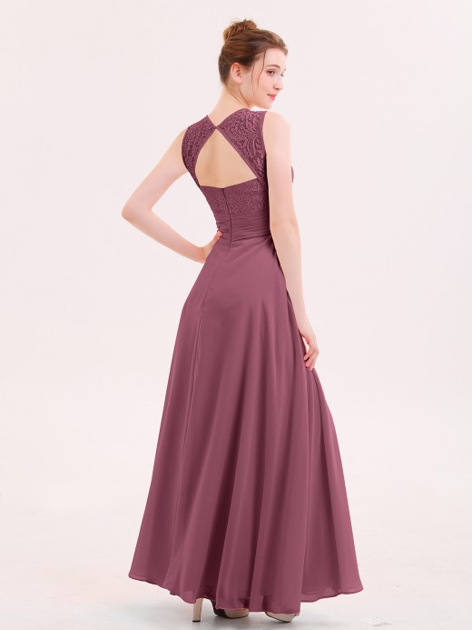 Babaroni Dione Lace And Chiffon Long Dress with Slit