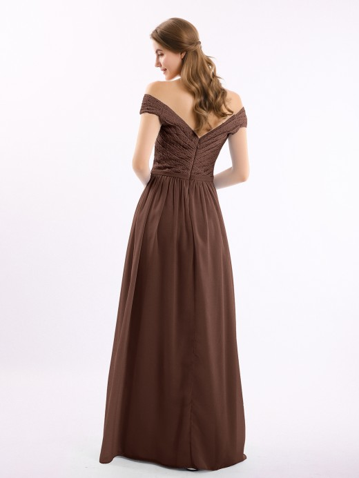 Babaroni Donna Long Cap Sleeves Chiffon Dress with Lace Top
