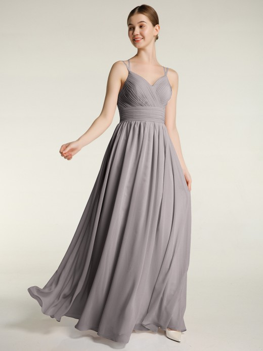 Babaroni Dora Princess Double Strap Chiffon Bridesmaid Dress