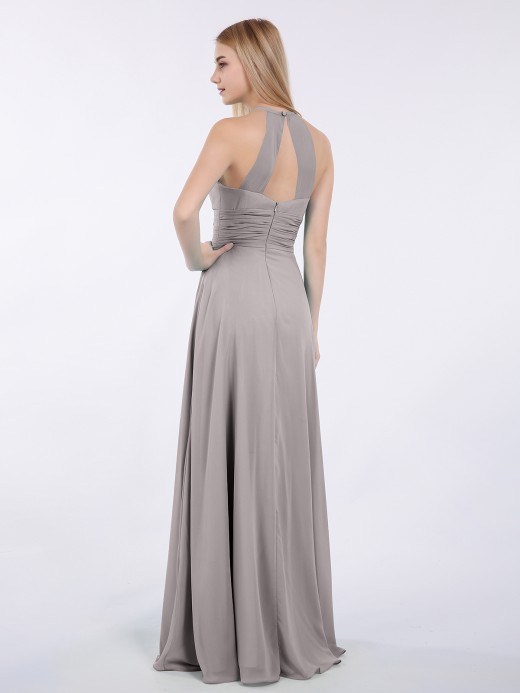 Babaroni Doris Long Halter Chiffon Dresses of Bridesmaid