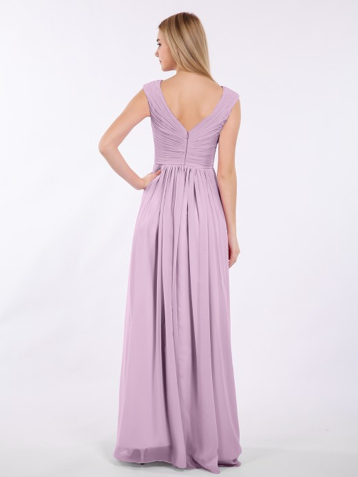 Babaroni Eartha Pleated Bodice Chiffon Long Dresses with Slit