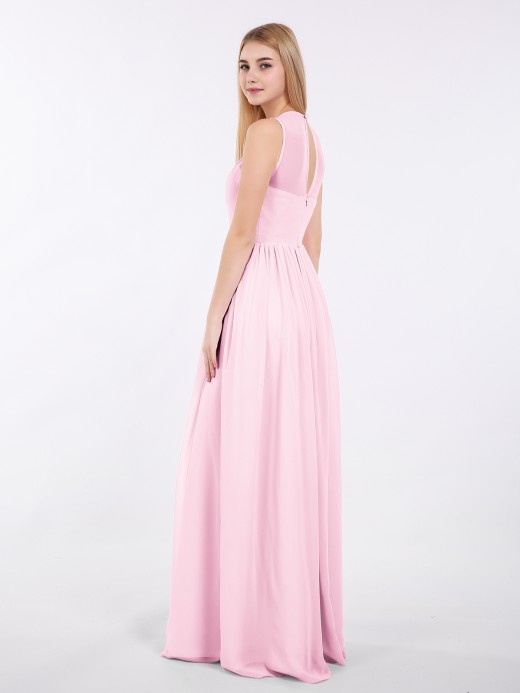 Babaroni Edith Chiffon Illusion Neck Maxi Gowns Of Bridesmaids