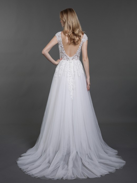 Babaroni Eira Cap Sleeves Tulle Wedding Dresses with V Neck