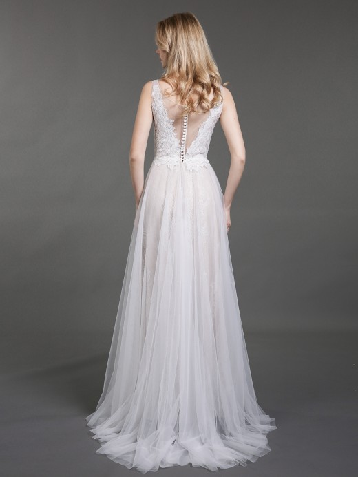 Babaroni Elaine Tulle and Lace Sweep Train Bridal Dresses