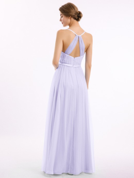 Babaroni Elina Long Tulle Dress with Deep V Neck Satin Sash Decor