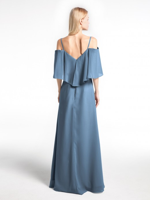 Babaroni Ellen Cold-Shoulder Ruffled Dress with Flounce Overlay