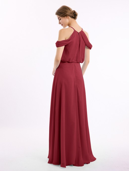 Babaroni Elodie Off-Shoulder Halter Chiffon Dress with Blouson Bodice