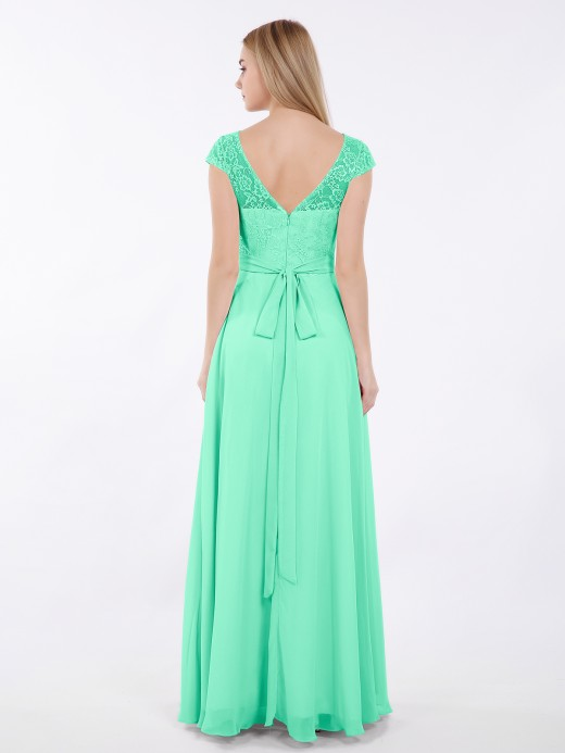 Babaroni Elsa Lace and Chiffon Long Dress with Cap Sleeves
