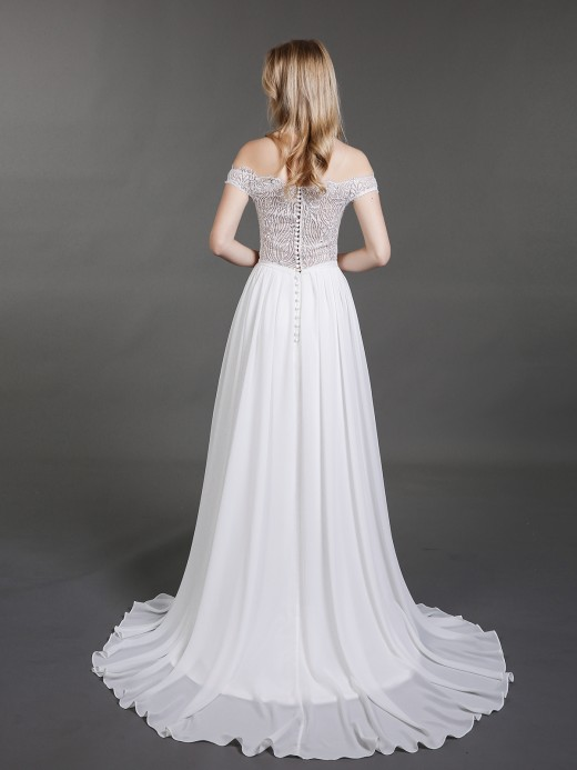 Babaroni Elsie See Through Top Chiffon Beach Wedding Dresses