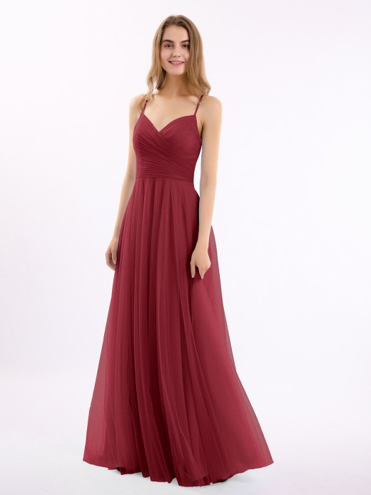 Babaroni Elva Long Spaghetti Straps Tulle Dress with Sweetheart Neck