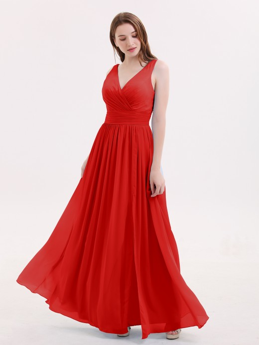 Babaroni Emerson DOUBLE BEADED STRAP Chiffon Gowns with Slit