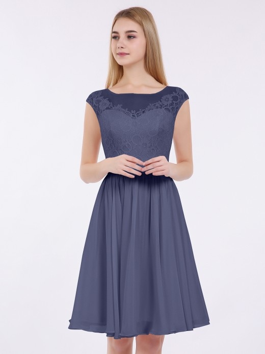 Babaroni Erica Chiffon and Lace Short Dress with Open Back