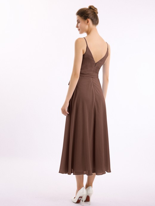 Babaroni Erin Spaghetti Straps Chiffon Dress with V Neck & Sash Bow