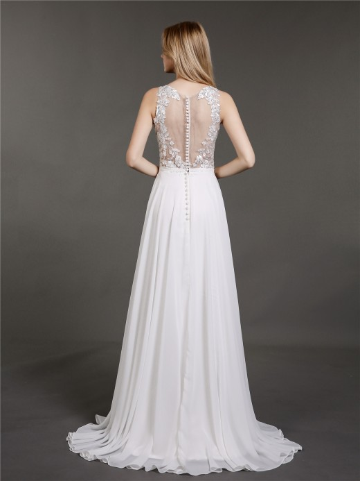 Babaroni Estelle Sweep Train Chiffon and Lace Wedding Gowns