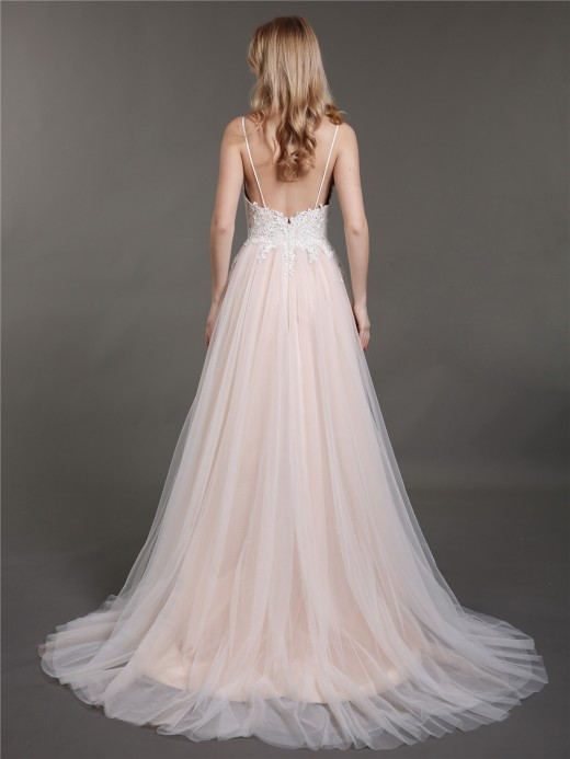 Babaroni Esther Spaghetti Strap Tulle Bridal Gowns with Train