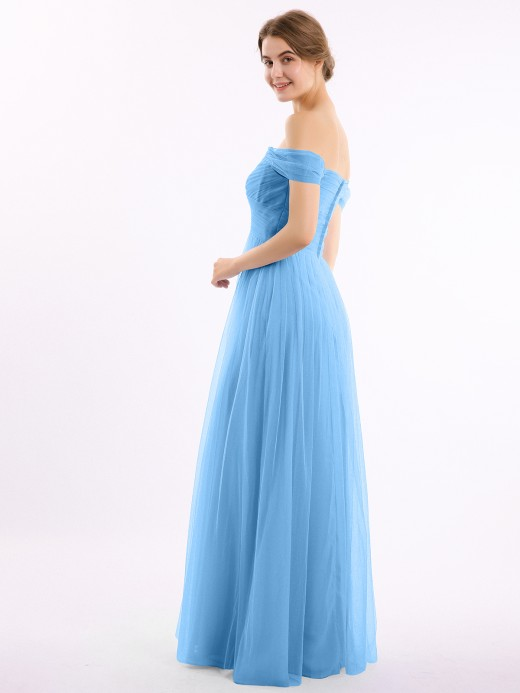 Babaroni Eunice Off the Shoulder Long Tulle Gown with Sweetheart Neck