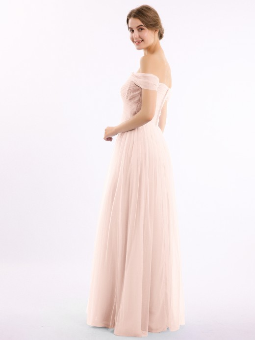 Eunice Off the Shoulder Long Tulle Gown with Sweetheart Neck UK14