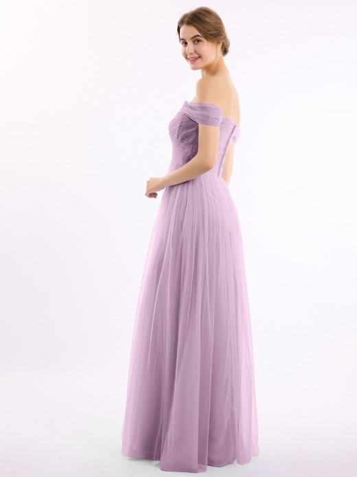 Eunice Off the Shoulder Long Tulle Gown with Sweetheart Neck UK22