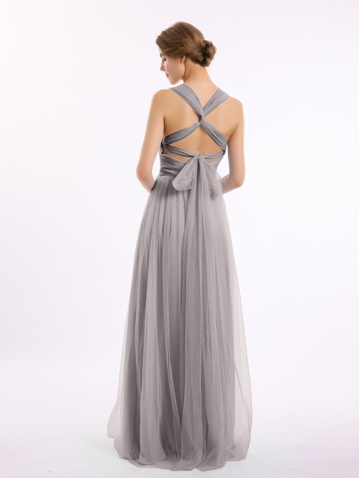 Babaroni Evelyn Long Tulle Dress with Convertible Back Design