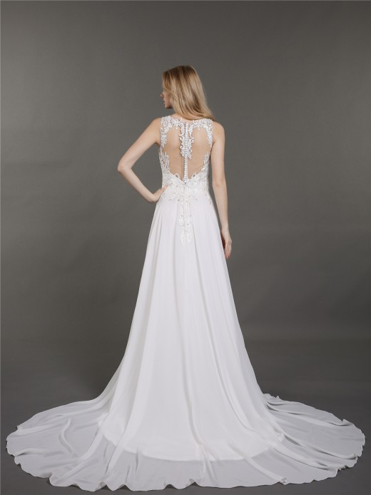 Babaroni Faithe Chiffon Illusion Neck Wedding Gowns with Train