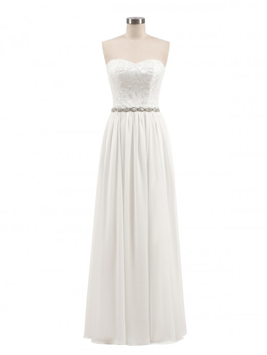Babaroni Florence Lace and Chiffon Strapless Long Gowns