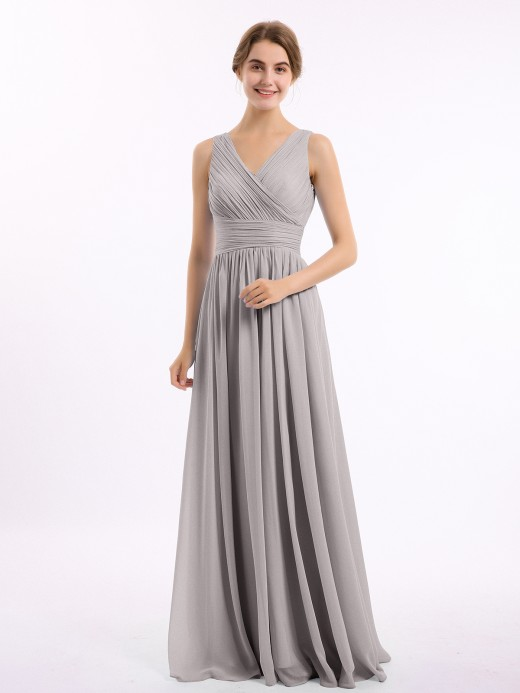Babaroni Gail Long Chiffon Dress with V Neck & Pleated Upper Bodice