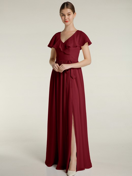 Babaroni Gemma Cap Sleeves V-neck Chiffon Dress with Slit