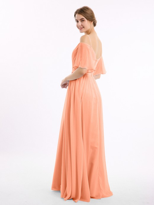 Babaroni Geri Off the Shoulder Spaghetti Strap Chiffon Gowns