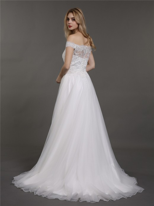 Babaroni Gina Off Shoulder Tulle And Lace Bridal Dresses