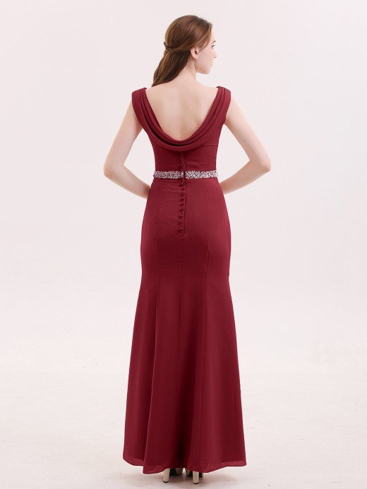 Babaroni Gloria Chiffon with Beaded Waistband Long Dress