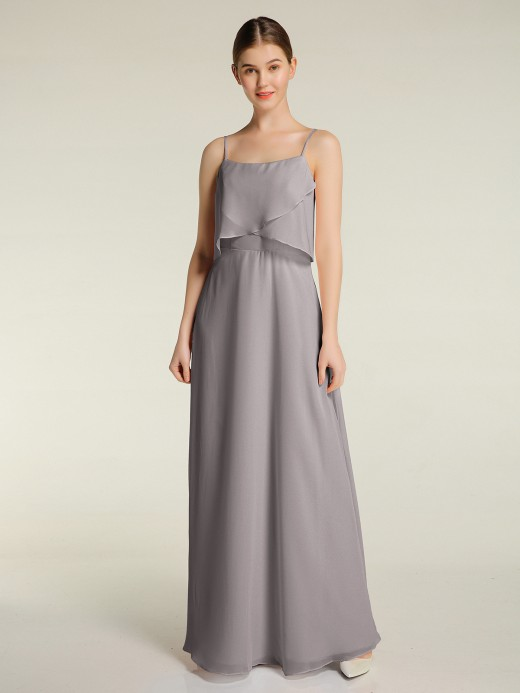 Babaroni Grace Long Chiffon Bridesmaid Dresses with Spaghetti Strap