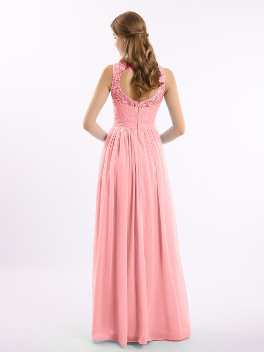 Babaroni Gwendolyn Chiffon And Lace Dress with Open Back