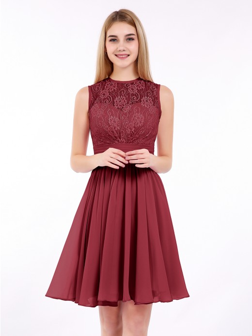 Babaroni Harriet Illusion Neck Chiffon and Lace Short Dress