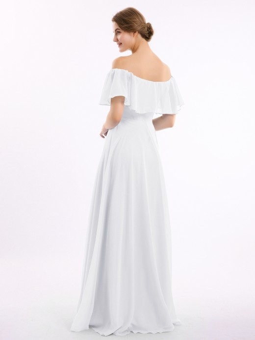 Babaroni Hazel Floor-length Off Shoulder Chiffon Gown
