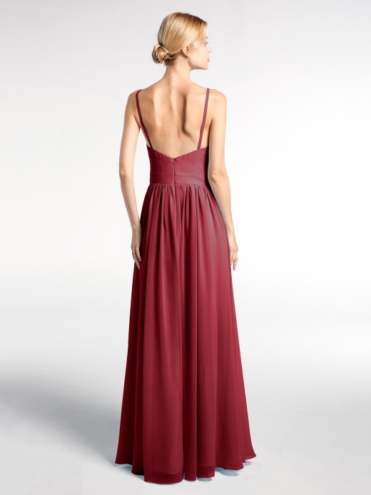 Babaroni Hedy Full Deep V-neck Empire Waist Chiffon Dress