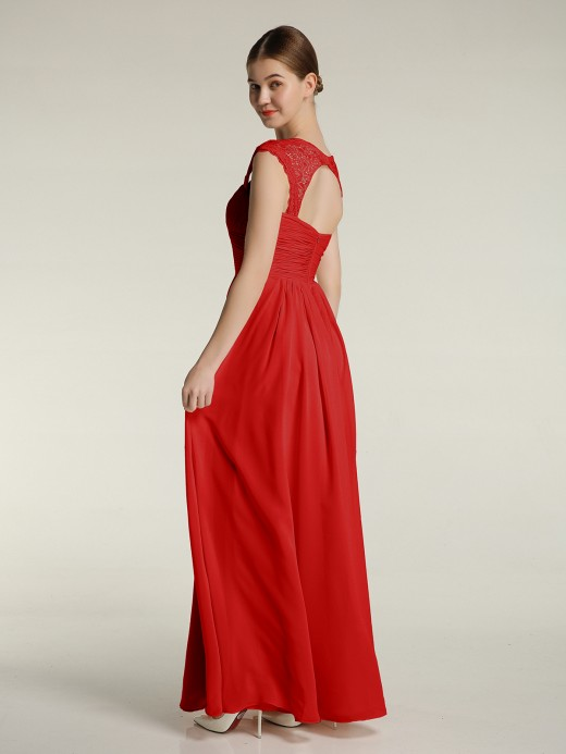 Babaroni Helen Chiffon Bridesmaid Dresses with Lace Cap Sleeves