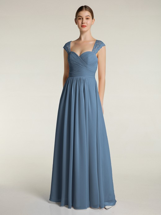 Helen Chiffon Bridesmaid Dresses with Lace Cap Sleeves UK12