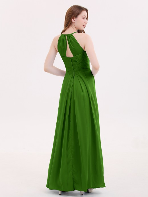 Babaroni Heloise Long Chiffon Dresses with Halter Neck