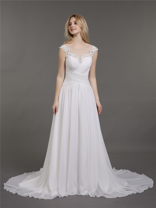 Babaroni Hilda Corset Back Chiffon Wedding Dresses with Train
